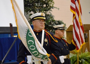 Two guards with flags