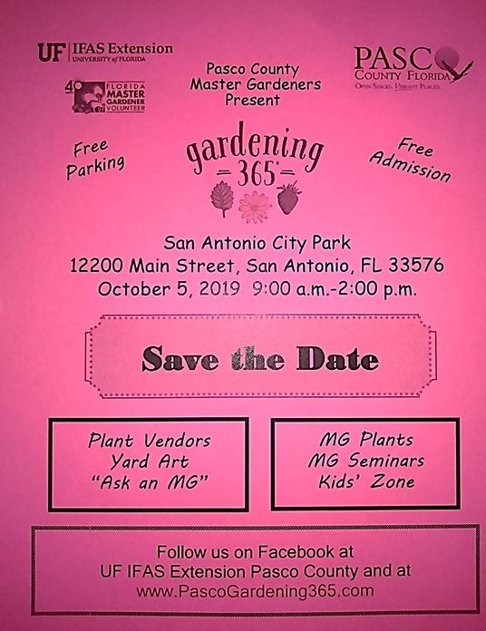UF IFAS Pasco Extension - Gardening 365 Event Save the Date Flyer 10-5-2019