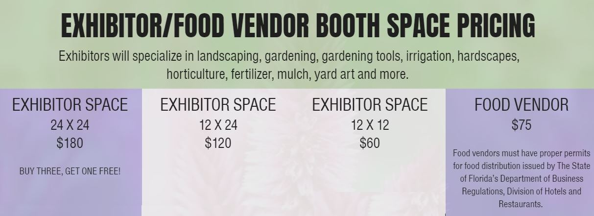 Gardening 365 Exhibitor - Food Vendor Booth Space Pricing Sheet