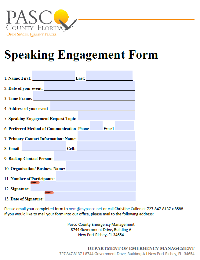 Emergency Management Speaking Engagement Form