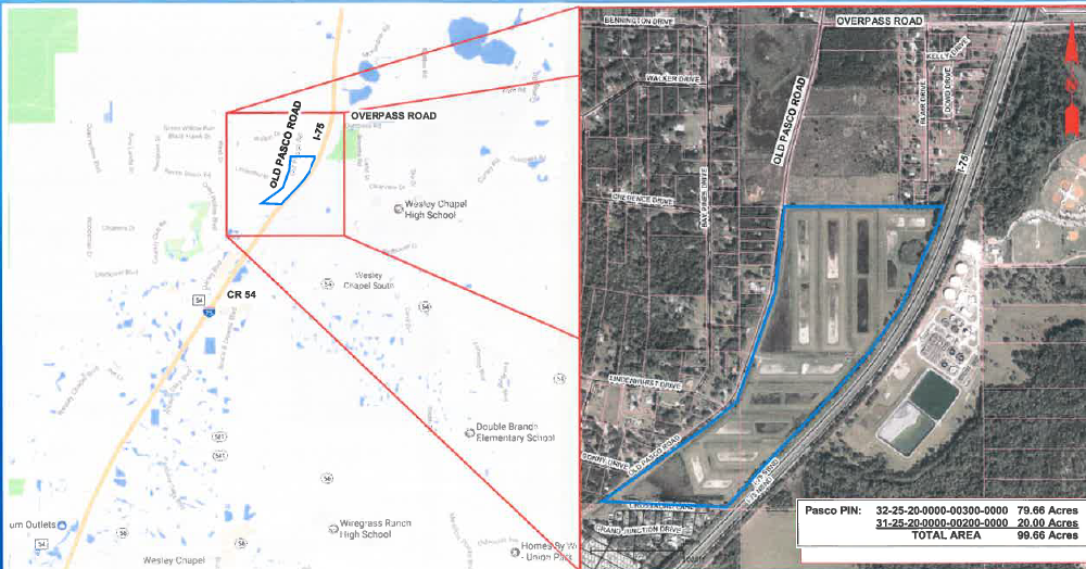 Map of I75 corridor in Pasco County with insert of parcel map for target property