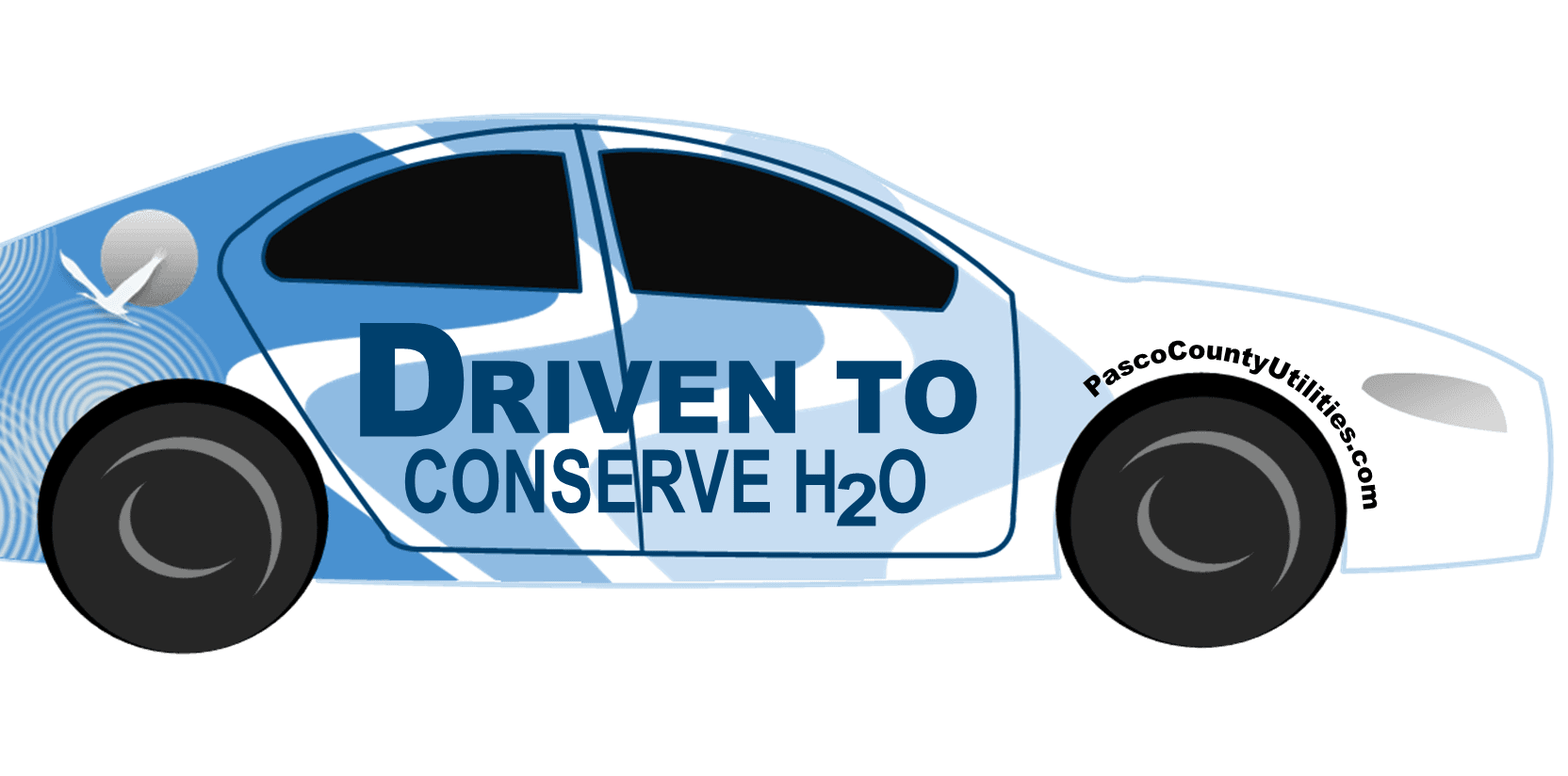 Driven To Conserve H2O Car with the website listed above the tire. Reading PascoCountyUtilities.com